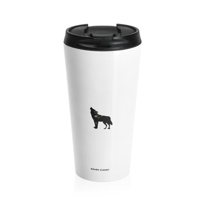 White stainless steel mug with black wolf and lid
