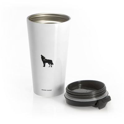 White stainless steel mug with black wolf