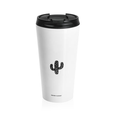 White stainless steel mug with black cactus