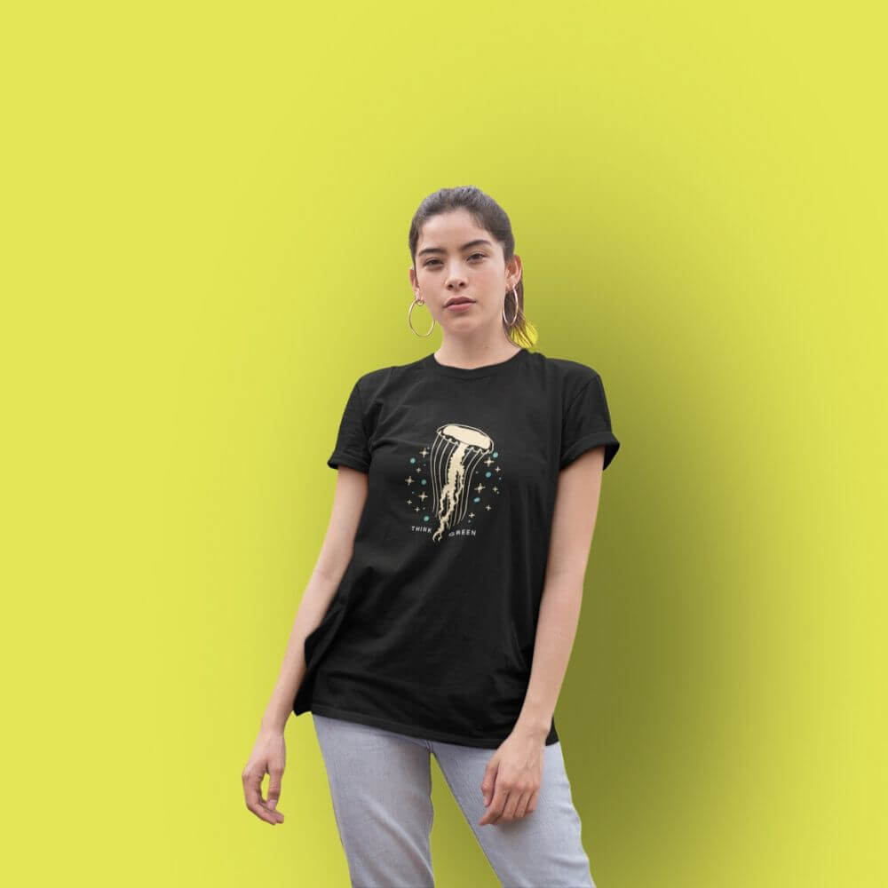 Woman wearing black shirt with jellyfish graphic