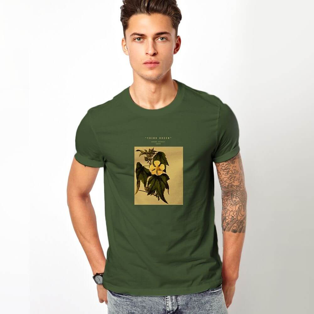 Man wearing olive t shirt with plant graphic