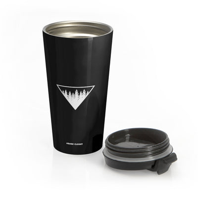 black stainless steel mug with forest design