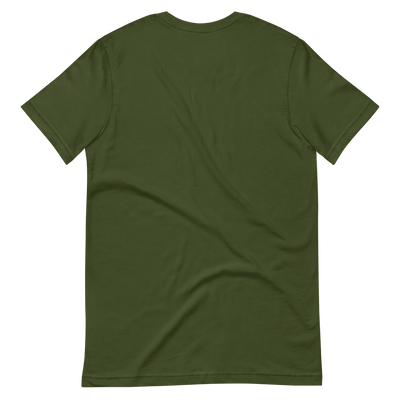 Back of olive green t shirt