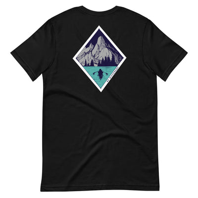 Back of black t shirt with diamond design with mountains in water inside