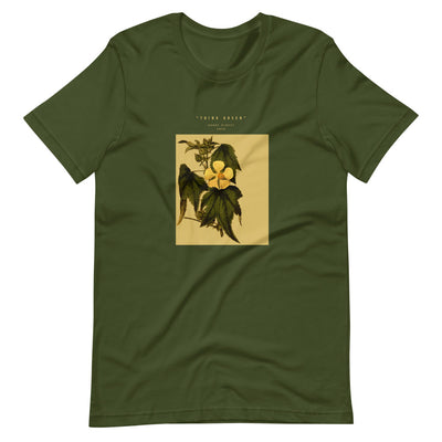 Olive green t shirt with plant graphic