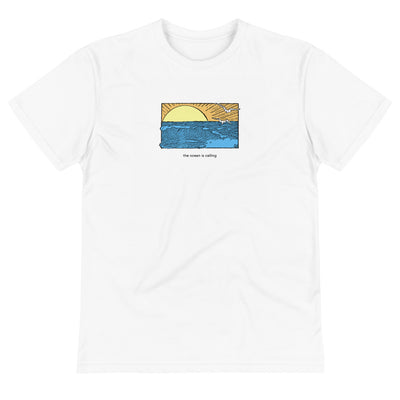 White shirt with ocean design