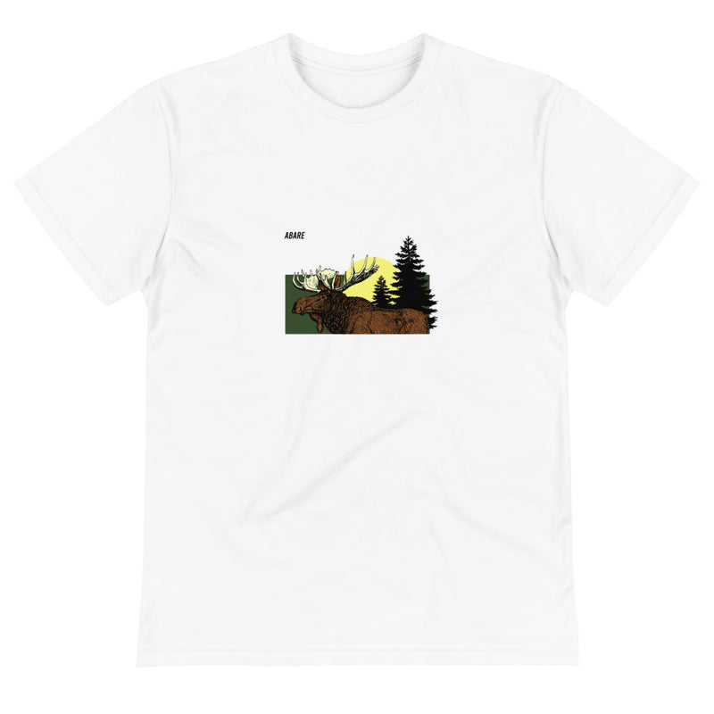 Woman in black hat wearing white t shirt with moose graphic