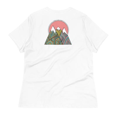 Back of white shirt with tie dye mountains and pink sky