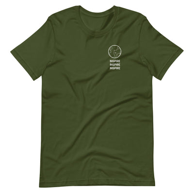 Forest green shirt that says inspire