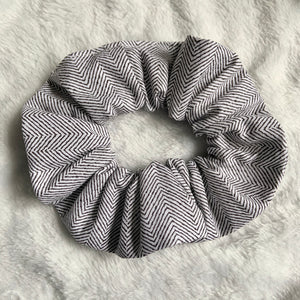 """ Plain Herringbone"" Handmade Scrunchie"