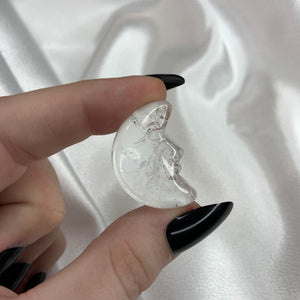 (1) Clear Quartz Moon with Face