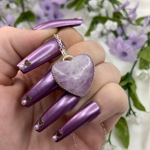 """Orchid"" 925 Sterling Silver Kunzite Heart Necklace"