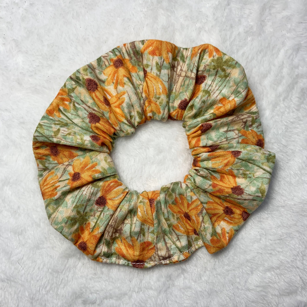 """Painted Flowers"" Handmade Scrunchie"