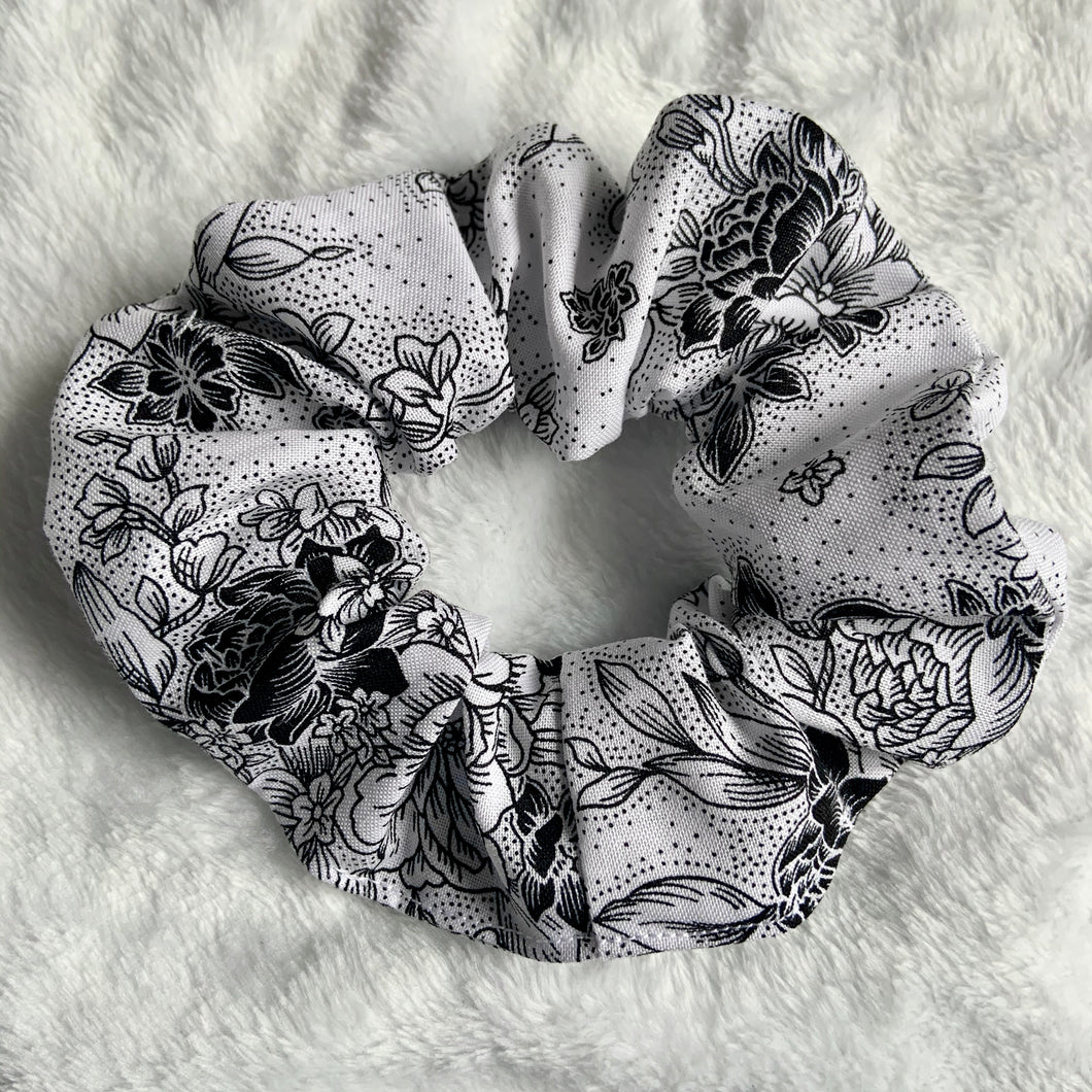 """White Floral Tattoo"" Scrunchie"