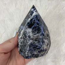 "Load image into Gallery viewer, Sodalite Half Polished Point ""C"""