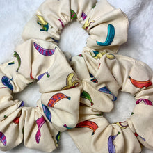 "Load image into Gallery viewer, ""Funky Bananas"" Handmade Scrunchie"