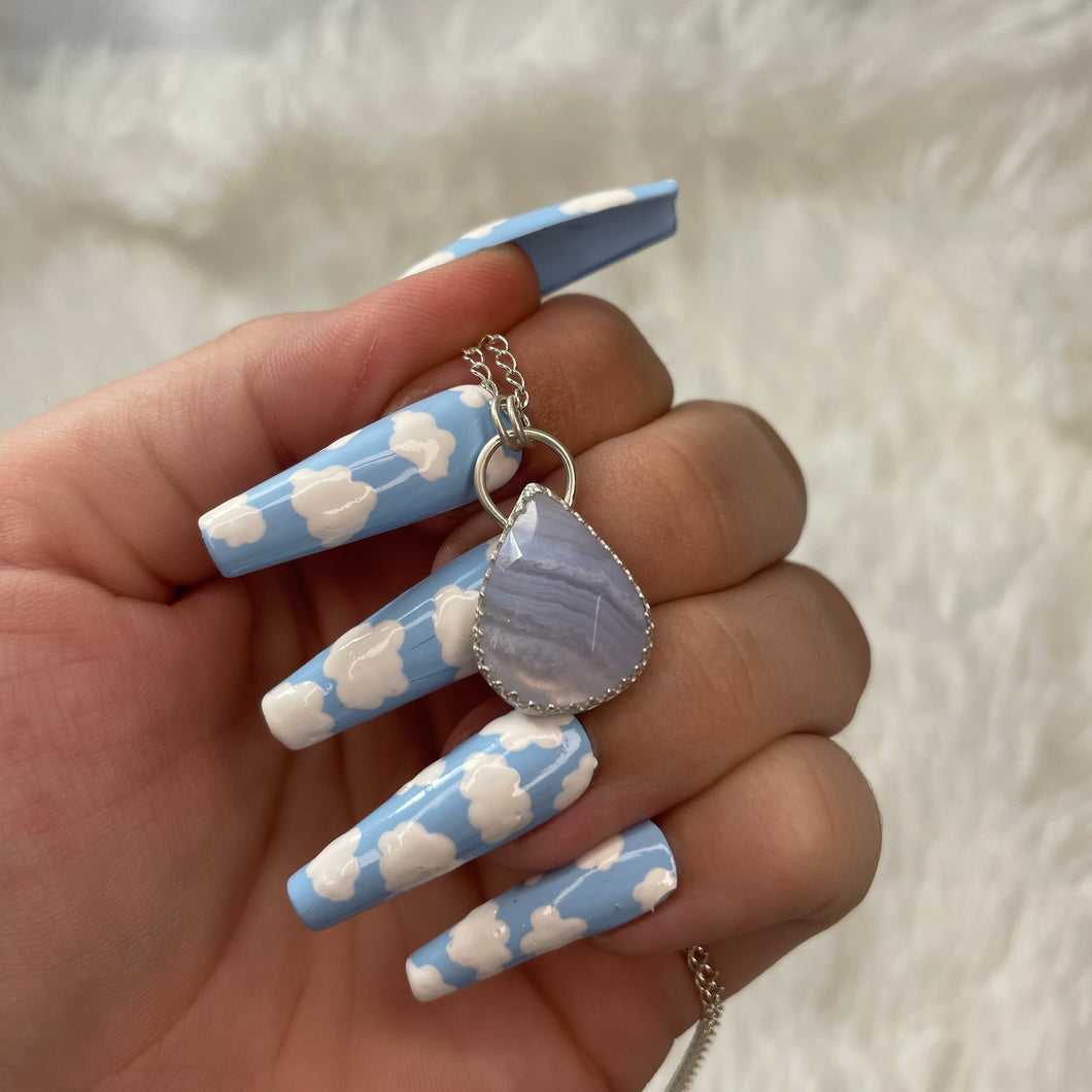 925 Sterling Silver Blue Lace Agate Necklace