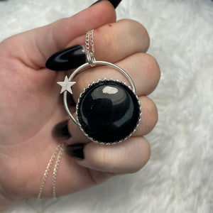 "Gold Sheen Obsidian 925 Sterling Silver 18"" Necklace"