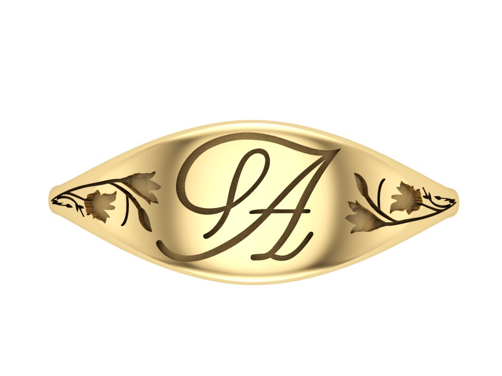 Ladies Signet Graduation Ring- with Floral