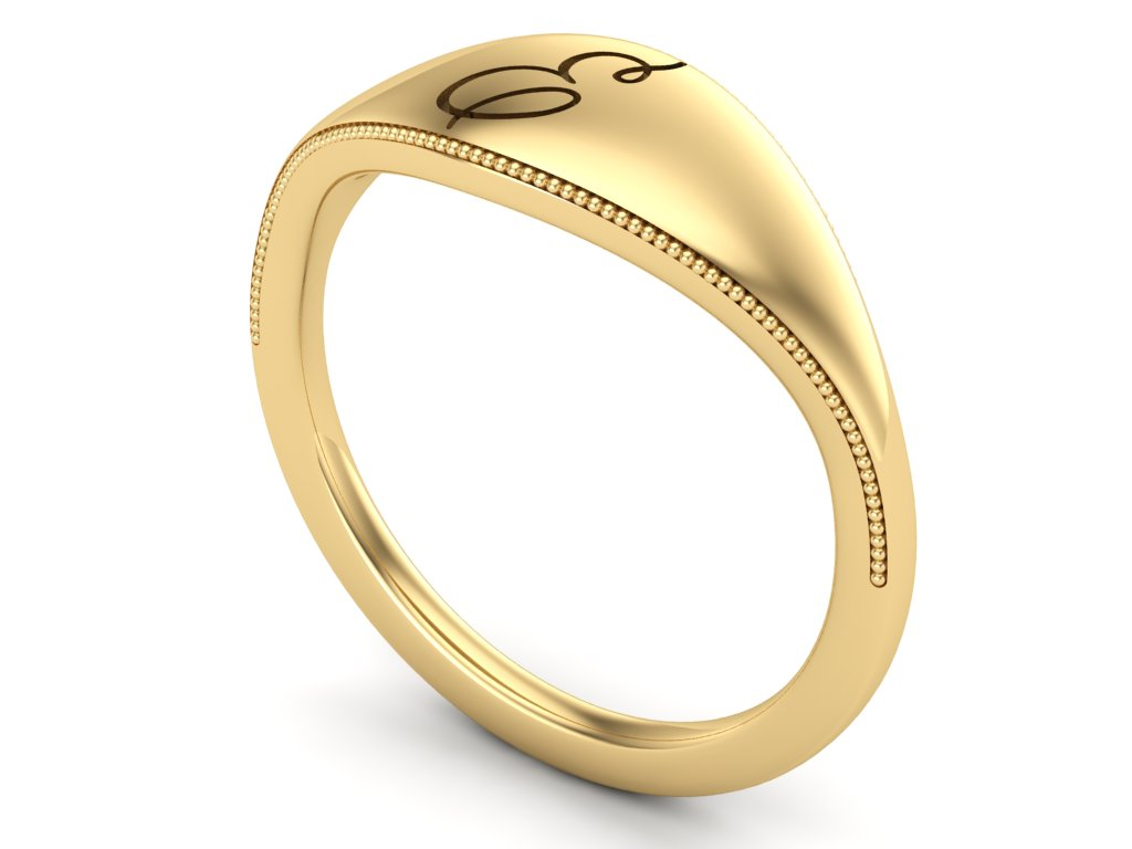 Ladies Signet Graduation Ring- with Milgrain