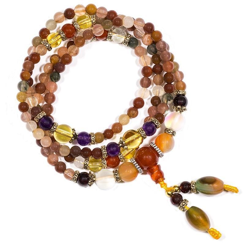 Mala Agate Mix Elastic 108 Beads - Health Matters
