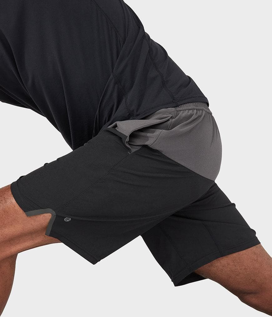 Manduka Lunge Short Colorblock Black Combo - Health Matters Shop