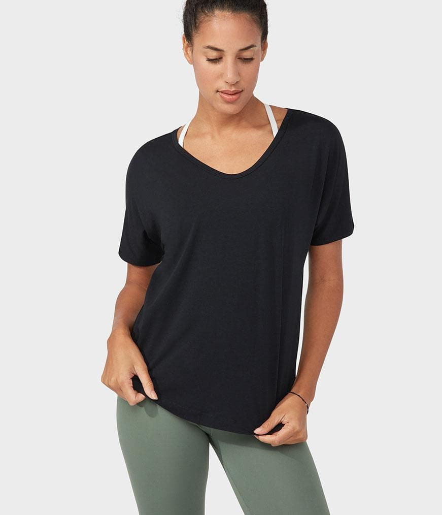 Manduka Enlight Relaxed Tee Black - Health Matters Shop