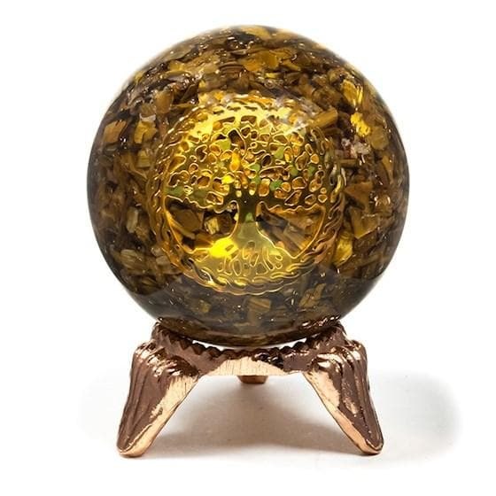 Orgonite Sphere With Tiger Eye And Tree Of Life Symbol - Health Matters