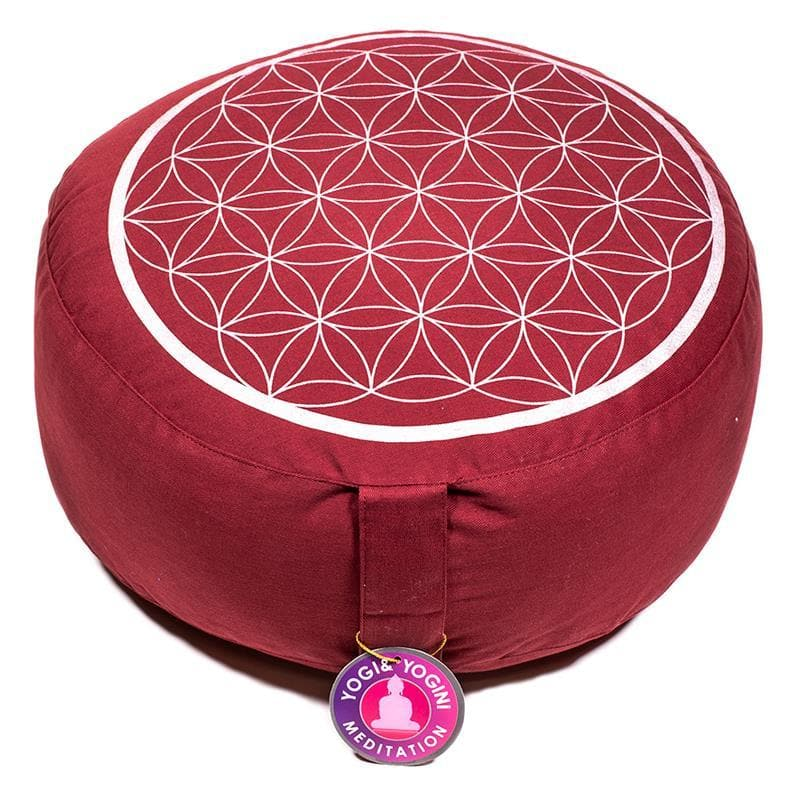 Meditation Cushion Red With Silver Flower Of Life - Health Matters Shop