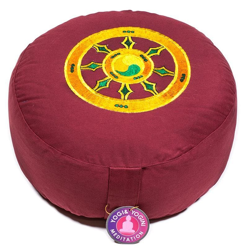 Meditation Cushion Red With Dharma Wheel - Health Matters Shop