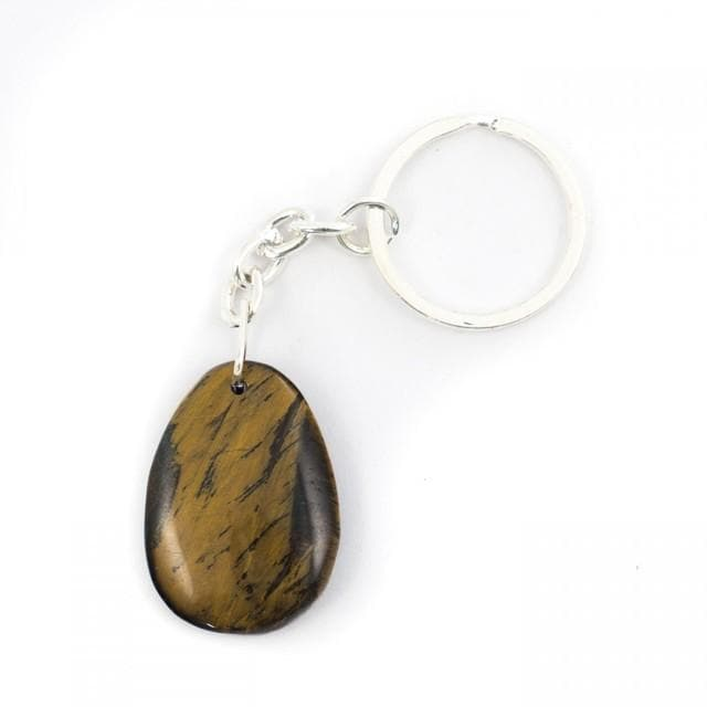 Golden Tiger Eye Teardrop Crystal Keyring - Health Matters