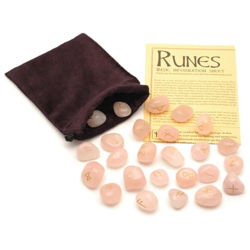 Rose Quartz Crystal Rune Stones - Health Matters Shop