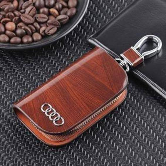 Car Logo Leather Wood Texture Car Key Case