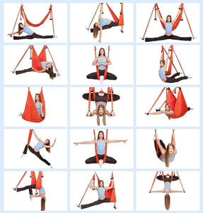 Aerial yoga hammock 6 handles strap, home gym hanging belt swing, anti-gravity aerial traction device