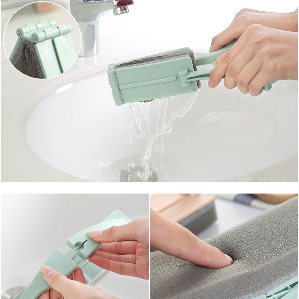 Folding Brush with Handle Household Strong Decontamination Tile Glass Cleaning Brush Sponge