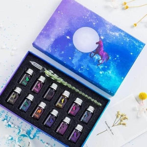 Glowing Pen with Crystal Glass Kit + Inks