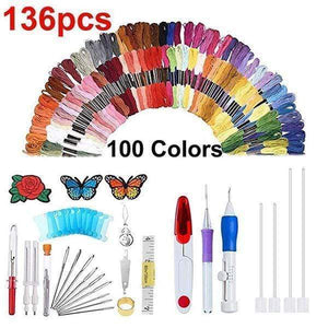 Rainbow Color Embroider Threading Tool (136 Sets)