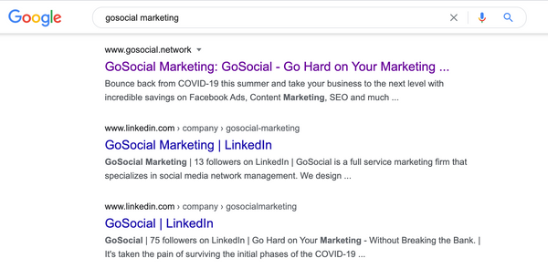 GoSocial Marketing SEO search results
