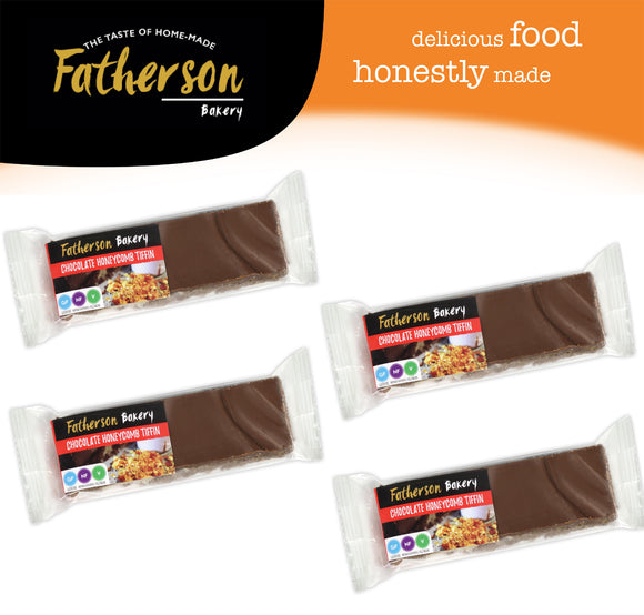 4 Chocolate Honeycomb Tiffin Snack Bars 65g x 4 - Direct Deliver