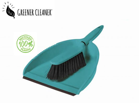 Dustpan & Brush - Turquoise 100% recycled material - Direct Deliver