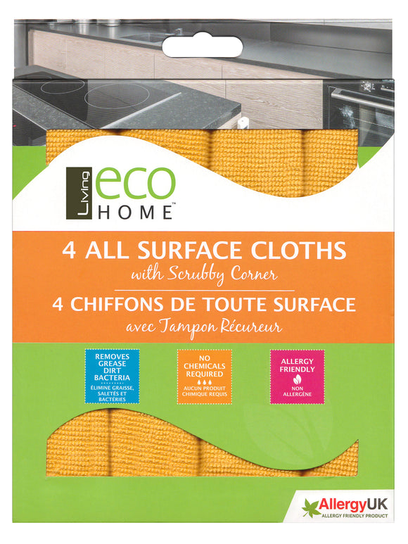 Home All Surface Cleaning cloths - 4 Cloths - Microfibre - Direct Deliver