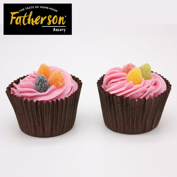2 Strawberry with strawberry jam surprise inside Cup Cakes - Direct Deliver