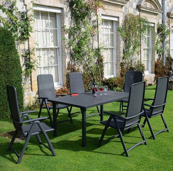 Nardi Libeccio Anthracite 6 Seater Extendable Dining Set with Darsena Chairs