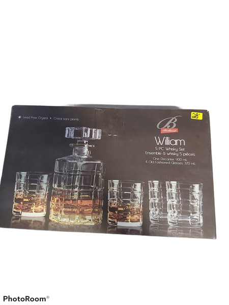 5 PC Whiskey Decanter and Glasses
