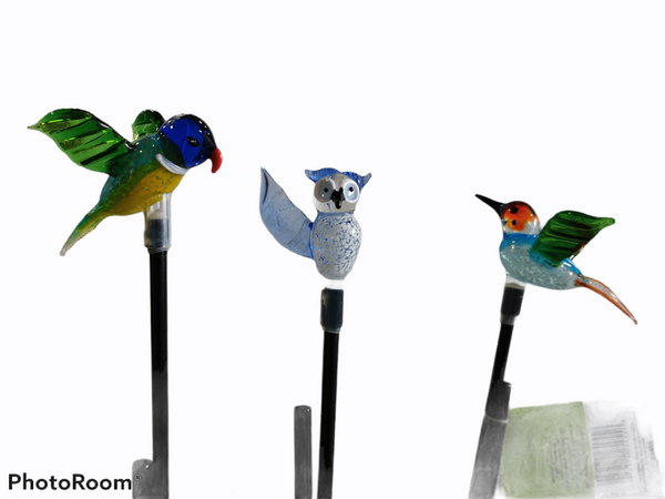 Fusion solar blown glass bird stick light