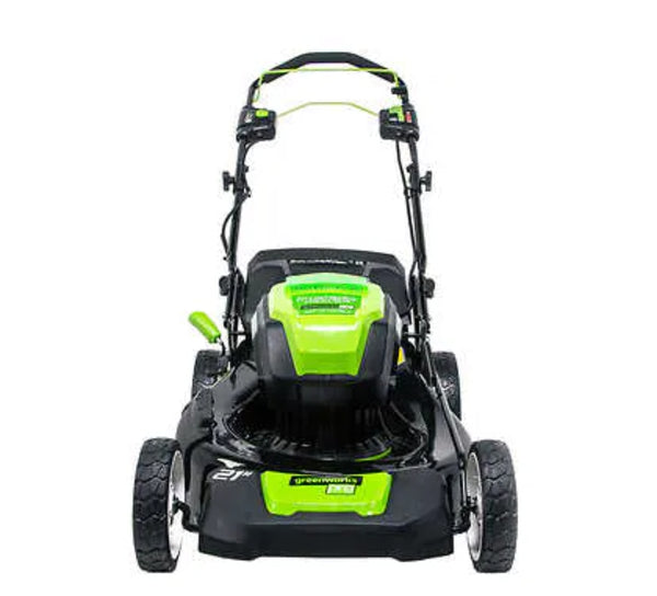 "Greenworks 21"" self propelled lawn mower"