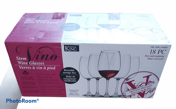 18 PC Crystal King Wine Glasses