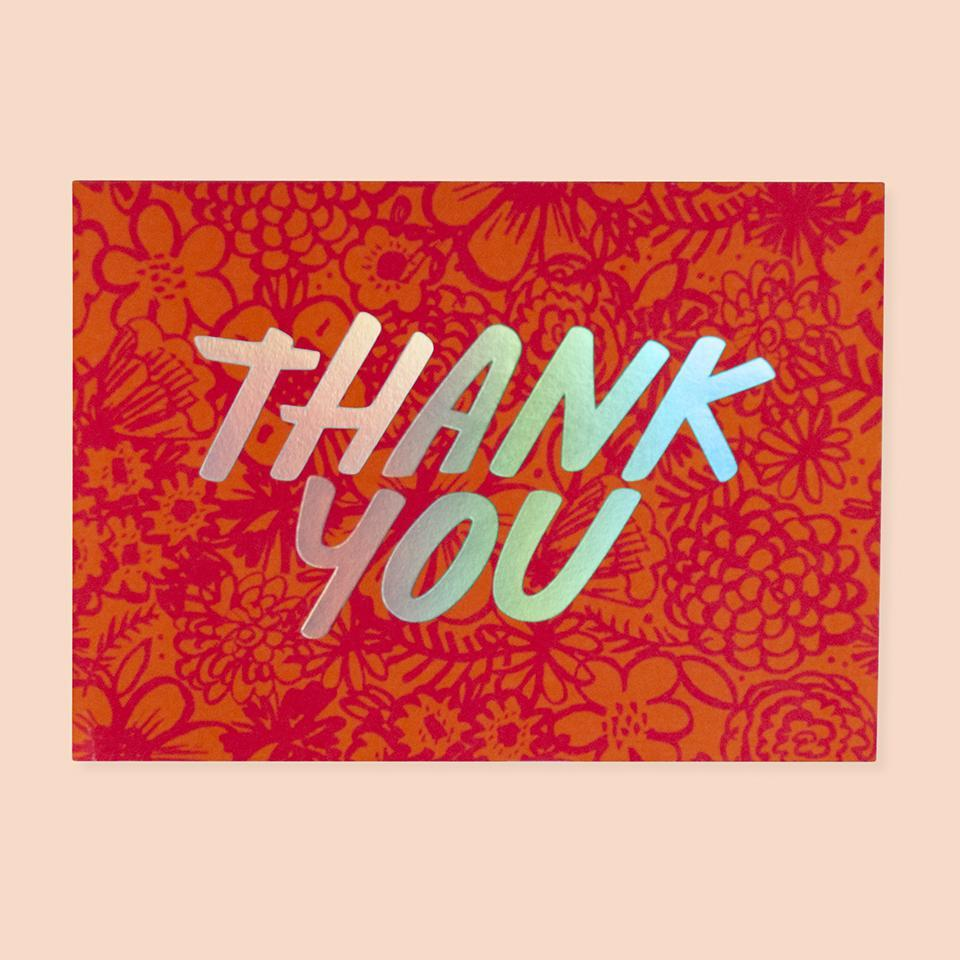 Brush Floral Thank You Card