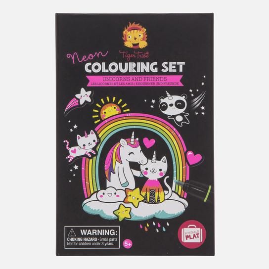 Neon Unicorn & Friends Colouring Set