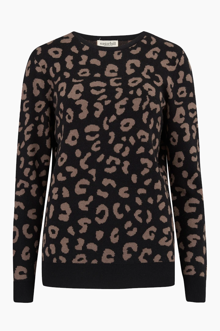 poppy leopard sweater | black/tan